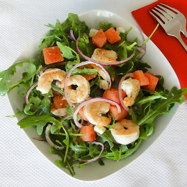 Arugula shrimp and watermelon salad