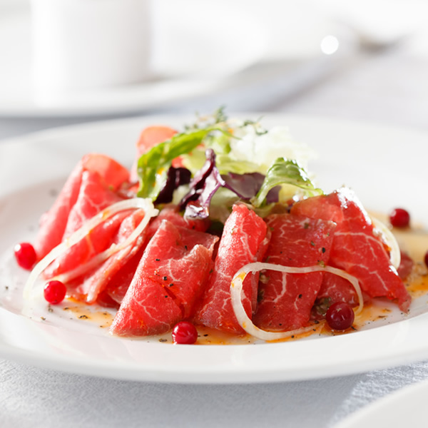 Beef carpaccio with sanbaizu sauce