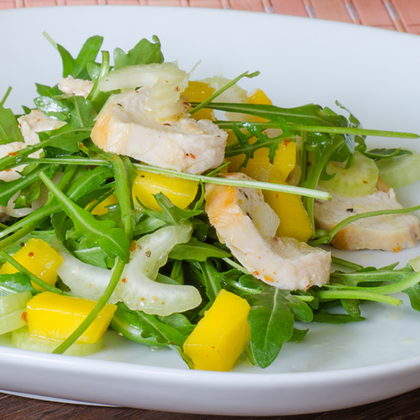 Chicken arugula and mango salad