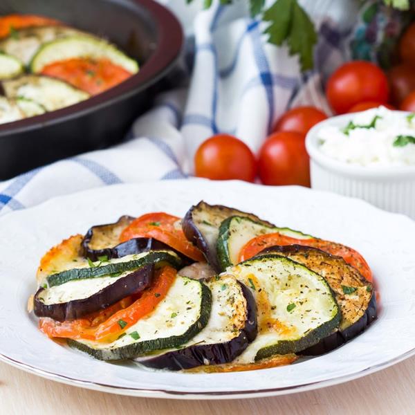 Stewed eggplants zucchini and tomatoes