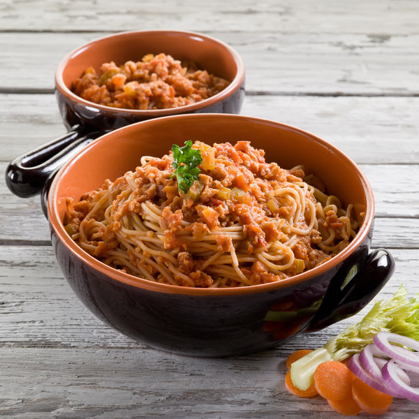 Spaghetti with tomato and ground beef