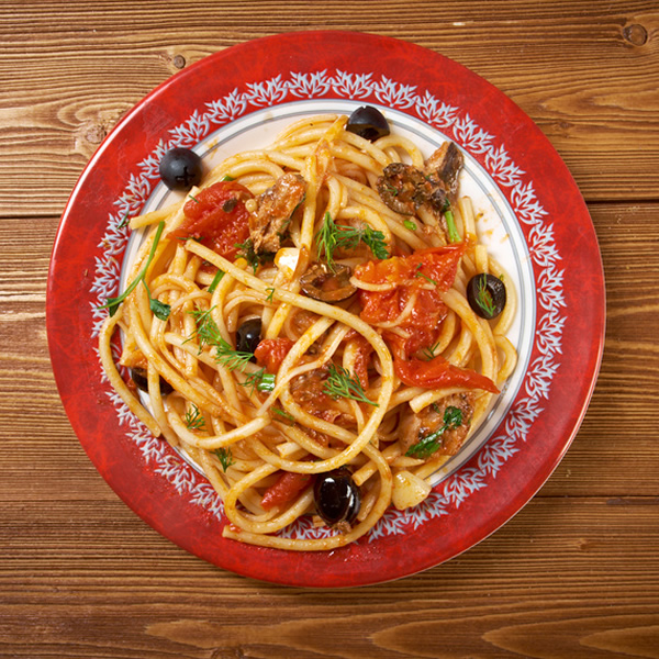 Pasta with tomatoes anchovies and olives