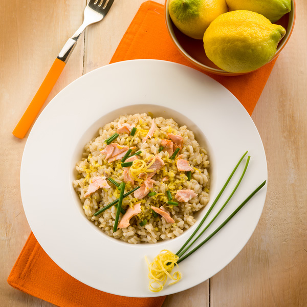Risotto with fresh salmon and lemon zest