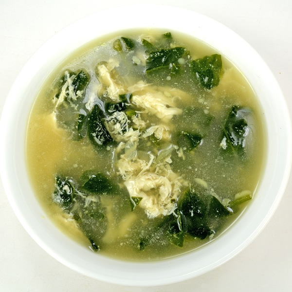 Spinach and eggs soup