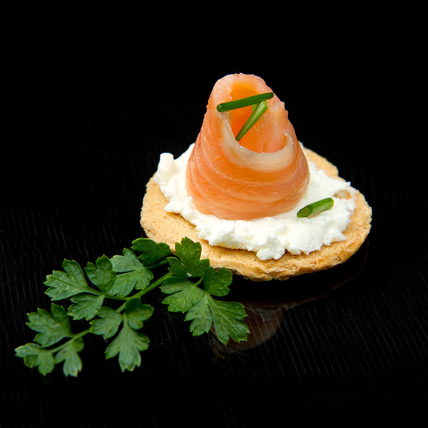 Salmon and cream cheese on bread