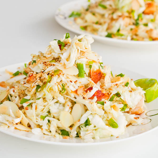 Chicken salad with cabbage and almonds