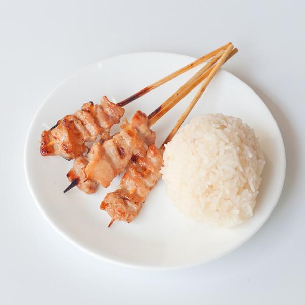 Skewered Thai pork with rice