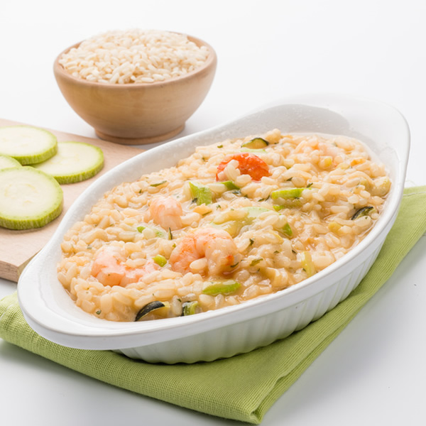 Risotto with zucchini and shrimps