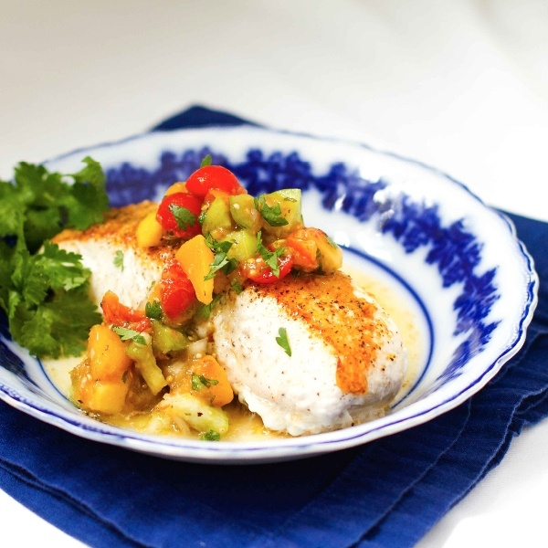 Baked halibut with mango ginger salsa