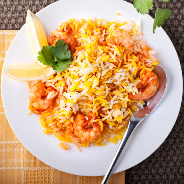 Prawn biryani with rice and spices