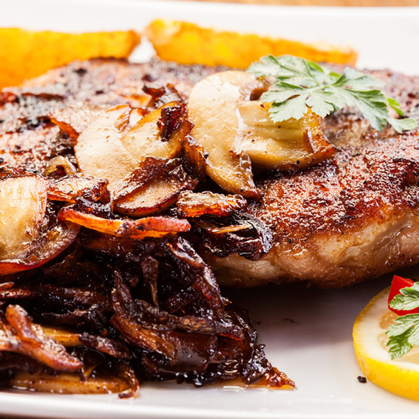 Roasted pork chops with mushrooms