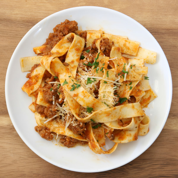 Egg pasta with meat ragù