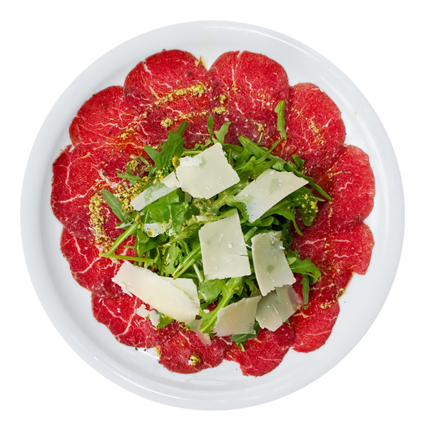 Beef carpaccio with Parmesan cheese