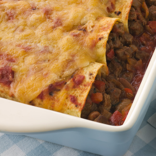 Beef enchiladas with beef