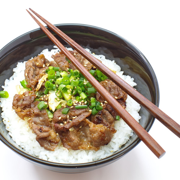 Beef with sushi rice