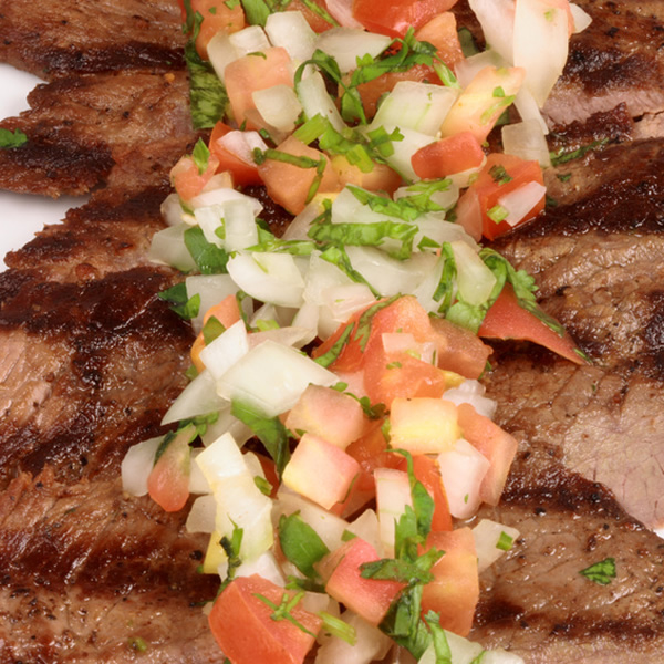 Beef steak with pico de gallo