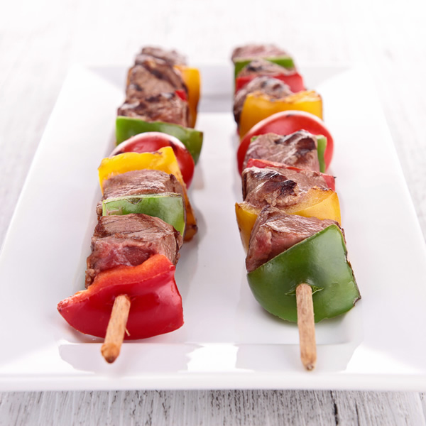 Pork skewers with peppers