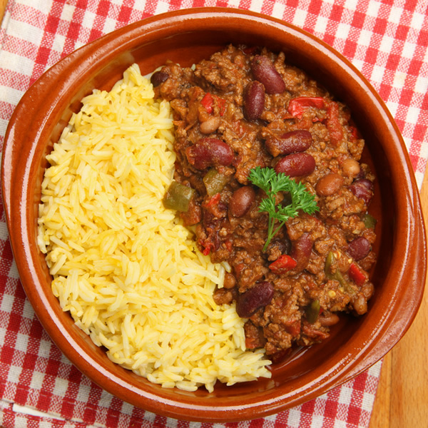 Minced beef with beans and rice