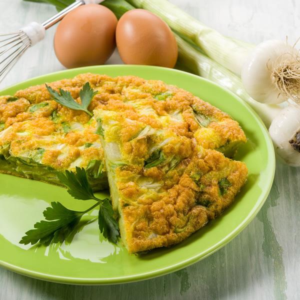 Leeks egg frittata omelette